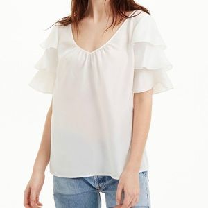 Club Monaco 100% Silk Ruffle Sleeve Top